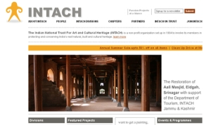 Screenshot of the INTACH website.